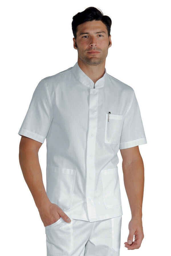 LARGE LOOSE SHIRT DOCTOR DENTIST MAN WHITE CORFU' SUPER STRETCH SHORT SLEEVE