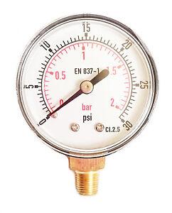 """14/"""" NPT Pressure Gauge Meter Air Compressor Pressure Manometer 0-30PSI"""