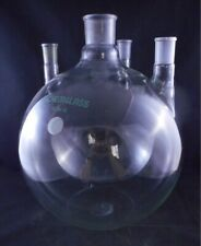 Chemglass Glass 22000ml 22l 4 Neck Round Bottom Flask 5550 Amp 2942 Vertical 1cs