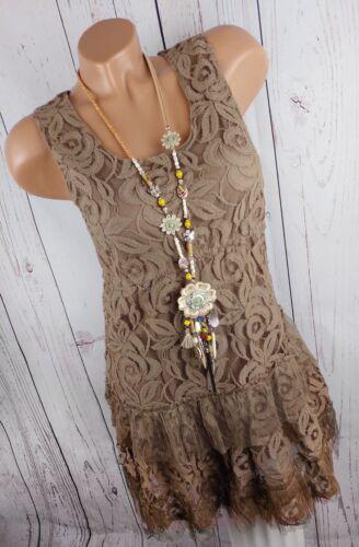 DRESSARA ITALY Damen Kleid Strandkleid Long-Tunika Spitze Boheme braun XS-M34-38