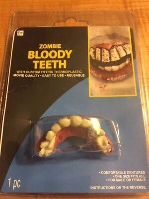 Zombie Bloody Teeth - Fake Reusable Zombie Teeth - Great Theatrical Makeup Prop