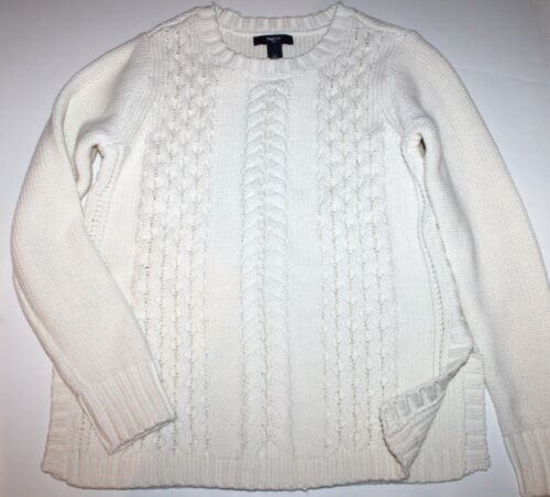 Gap Kids NWT Girl XS S M L XL Ivory 100/% Cotton Cable Knit Sweater w// Side Slits