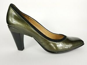 Bronze Square Heel Patent High Heel Pumps Shoes