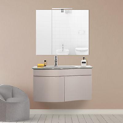 Arredamento bagno mobile sospeso color tortora design con specchiera