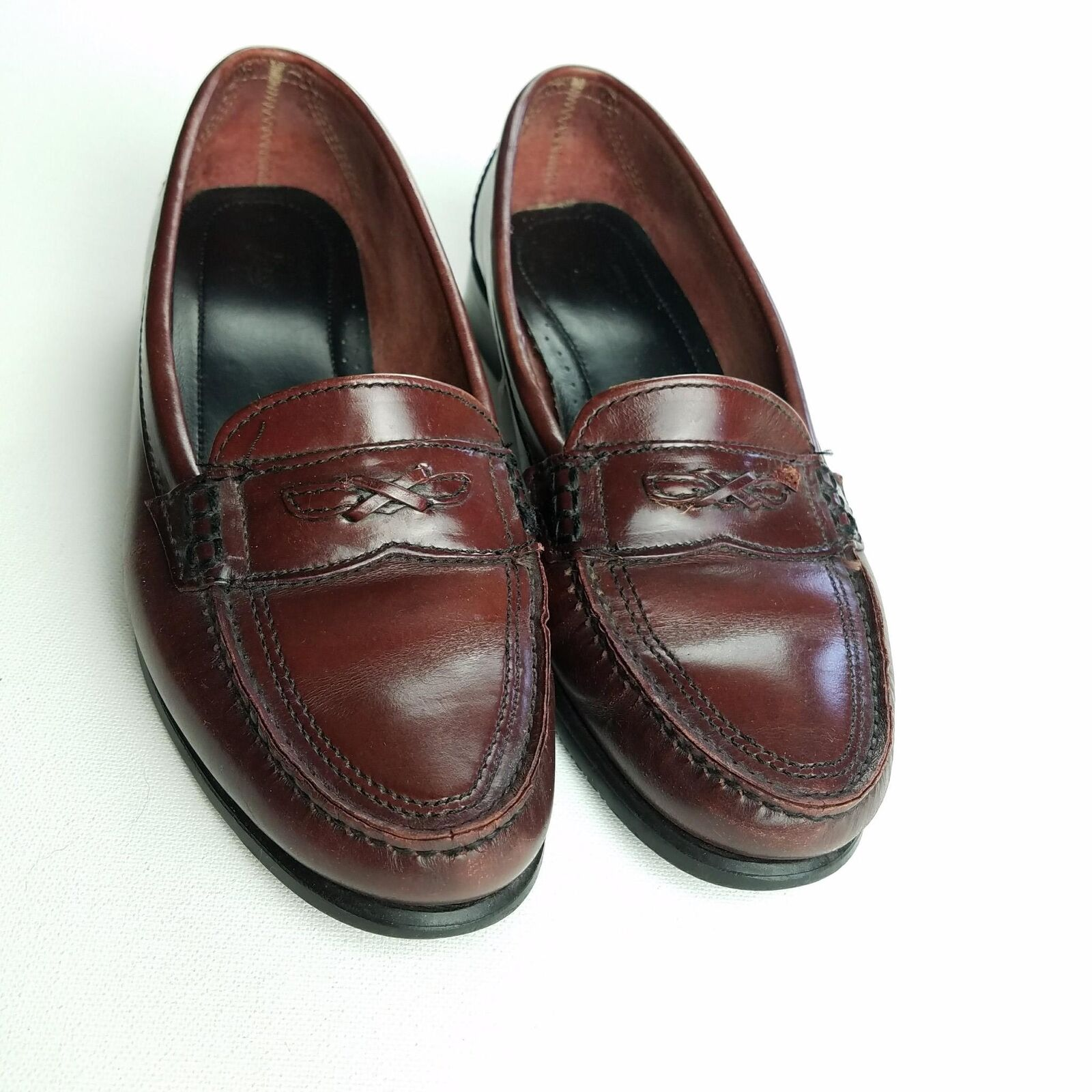 G. H. Bass & Co Shoes Penny Loafers Mens Size On 8.5 Leather Flat Slip On Size Brown 46b842