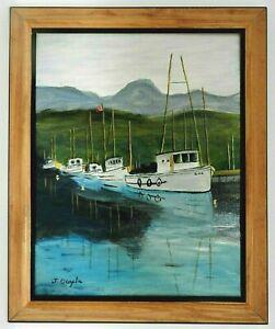"""M.JANE DOYLE SIGNED ORIGINAL ART OIL/CANVAS PAINTING """"QUIET HARBOR""""(SEASCAPE)FR."""
