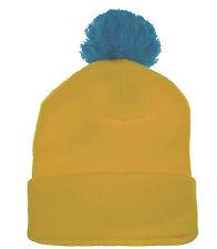 """Pom Pom 13"""" Cuffed Plain Beanie Knit 2 Tone Neon Hat-yellow turquoise"""