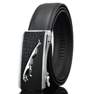 Fashion Mens Leather Belt Strap With Jaguar Leopard Automatic Alloy Buckle