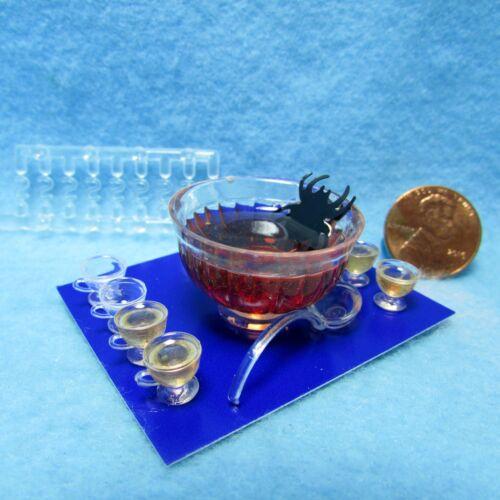 Dollhouse Miniature Chrysnbon Halloween Punch Bowl Set with Spider CB119