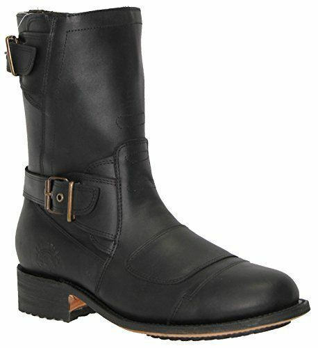 Route Zipped Leather Boot Cowboy 66 Western Pointed Boots Mens Grinders Black dZq1dAx