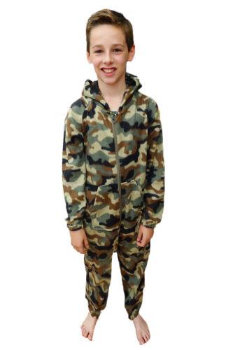 Childrens Camo All In One Winter Warmers Kids Boys Hooded Sleepsuit Pyjamas