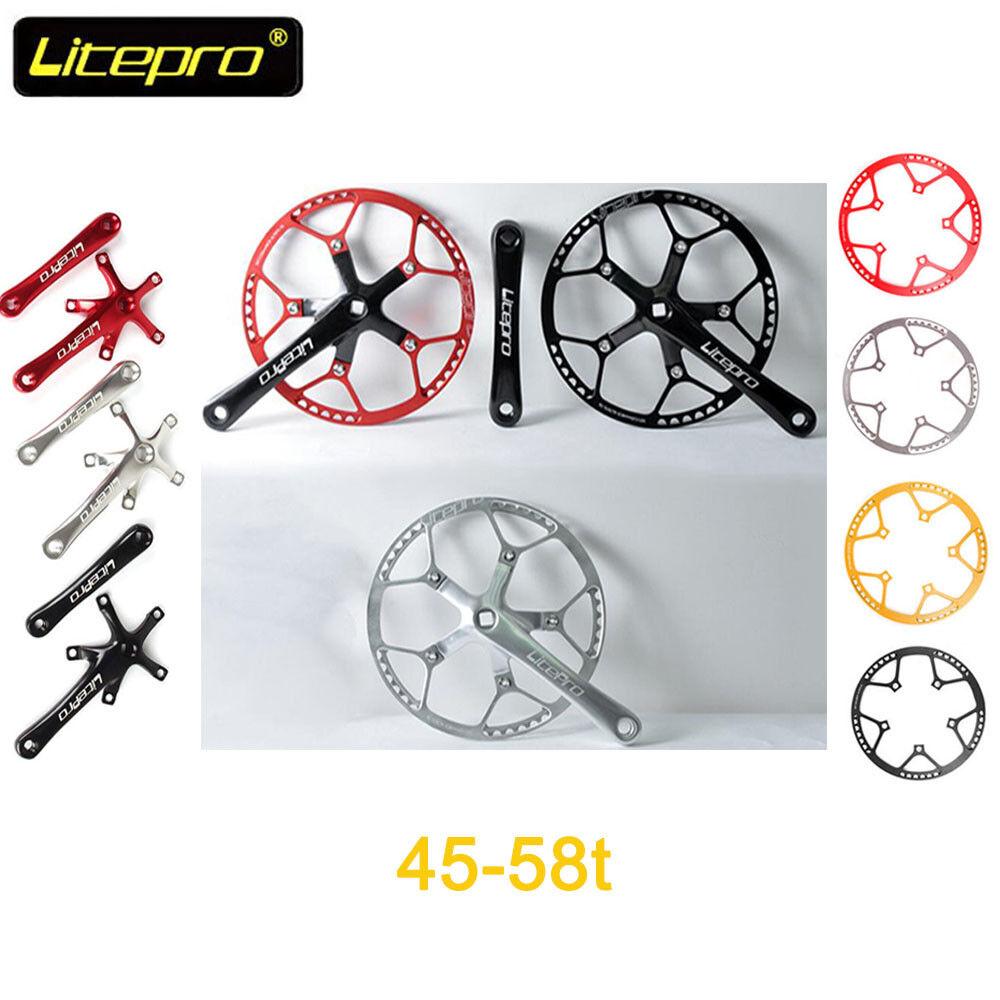 Litepro Aluminum Alloy 130BCD Bike Round Single Speed Chainring Crankset 45-58T