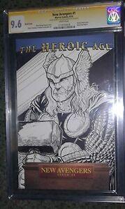 new avengers 1 cgc 9 6 ss original thor sketch cover cgc elvin