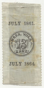 13th MASS. VOLUNTEERS 1864 WARTIME SILK RIBBON
