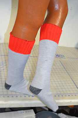 3 pair red top sock boot cut heel toe re-inforced grey hunting thick USA made