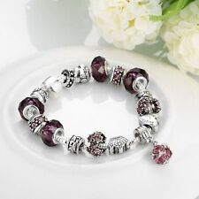 925 Sterling Silver European Murano Glass CZ Crystal Charm Womens Bracelet + Box