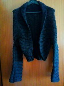 Scialle a maglia traforato lana stola coprispalle invernale frange sciarpa foula