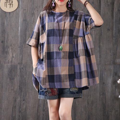 ZANZEA Women/'s Short Sleeve Summer T-Shirt Tops Plaid Check Oversize Blouse Tee