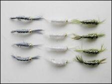 Shrimp Trout Flies, 12 Pack Scud (Freshwater Shrimp) Mixed Colour and Size