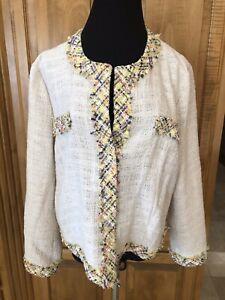 Women's Riani Nwt Ivory Tweed Jacket/ Blazer Sz 12 $752.00 A Great Variety Of Goods