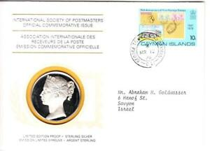 1976 Int'l Society of Postmasters Cayman Islands 1st Postage Stamps Silver Medal