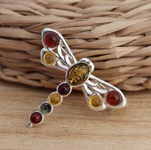Multicolor-Baltico-ambar-Plata-Esterlina-925-Joyeria-Libelula-Broche-Pin