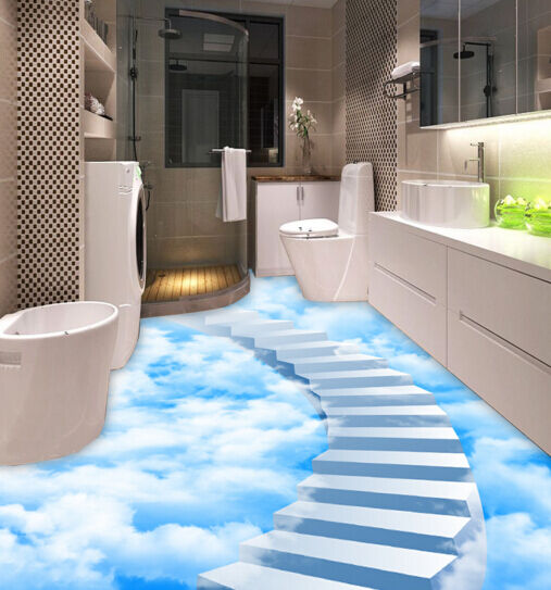 3D Cloud Stairway  Floor WallPaper Murals Wall Print Decal 5D AJ WALLPAPER