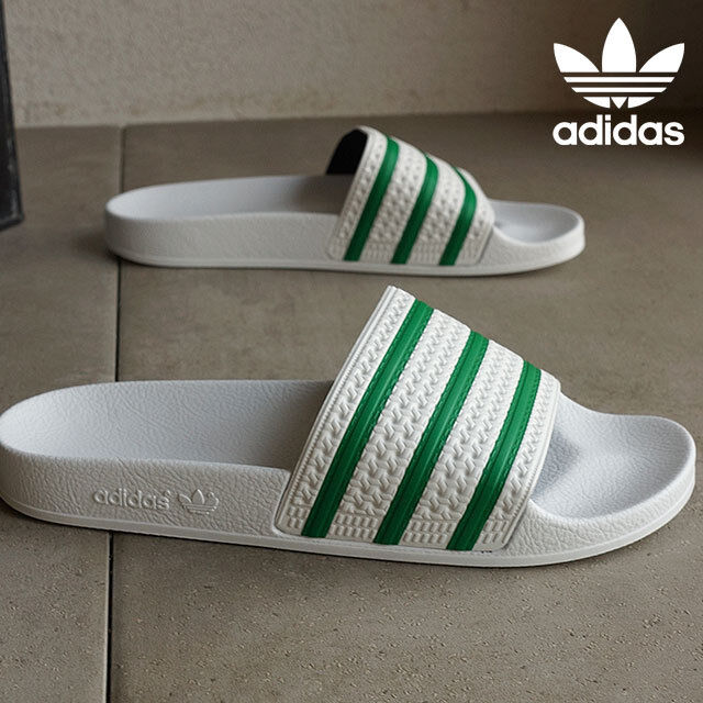 mens adidas adilette slides white green s78678 us 12 ebay