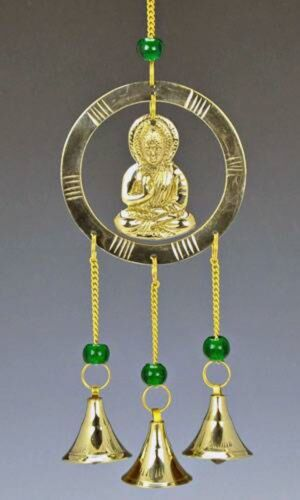 10 Inch #OMI-CLB55 Buddha in Meditation Wind Chime with 3 Bells