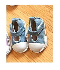Details zu Puppen Schuhe Turnschuhe Sneakers Canvas Leinenschuhe jeansblau 5 cm lang, 162j.
