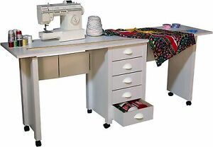 Image Is Loading Double Folding Mobile Desk Wheels Sewing Craft Table