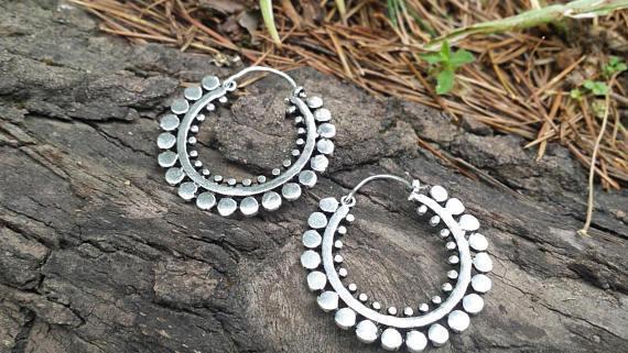 Silver Plated Large Gypsy Hoop Earrings Boho, Ethnic, Tribal, Ladies Gift Q24