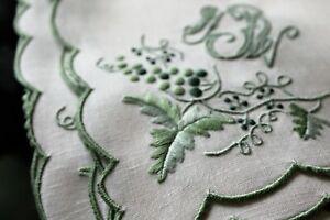 Vtg-Antique-FAB-Linen-Embroidered-Madeira-Set-Runner-Napkins-Triple-Monogram