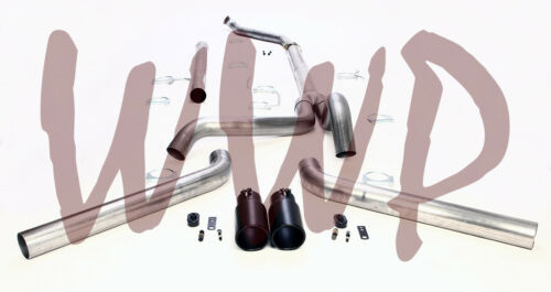 "4/"" Dual Turbo Back System /& Black Exhaust Tips 94-97 Ford F250//F350 7.3L Diesel"