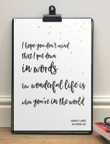 Anniversary Song Words PrintYour Song Elton JohnA4 Sized Personalised Gift