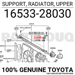 RADIATOR 1653328030 Genuine Toyota SUPPORT UPPER 16533-28030