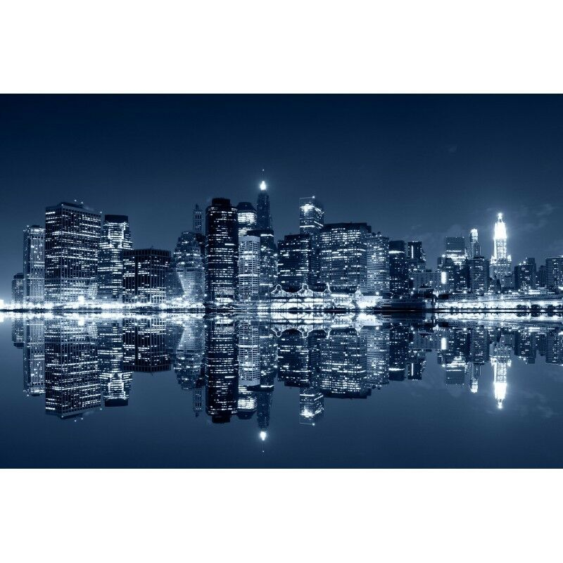 Quadro Stampa su Pannello in Legno MDF Femmehattan di di di notte, New York City a74a3a