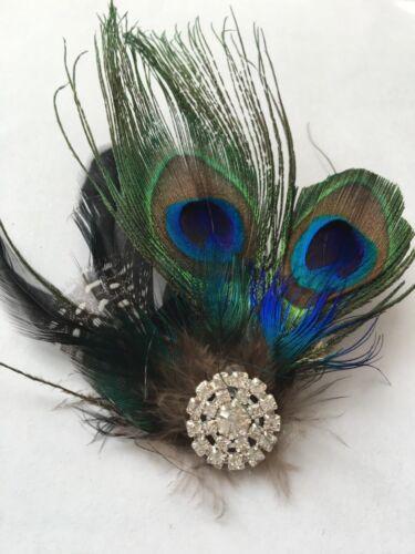 Green Peacock Feather Fascinator Hair Clip  Wedding Bridesmaids size 5/'/'*4.5/'/'