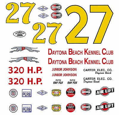 #27 Junior Johnson 59 Chevy 1/64th Ho Scale Slot Car Decals