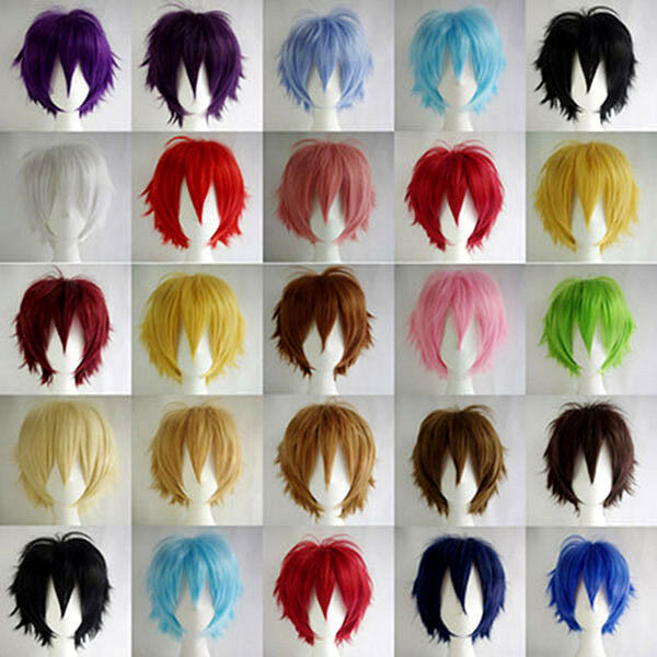 30cm Fashion Straight Short Wig Colorful Anime Cosplay Wig Party Hair