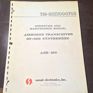 Sunair ASB-850 Operation Install & Maintenance Manual