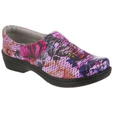 Klogs Missy Women's Clogs PURPLE  FLORAL CROC  Leather Display Model 6 M