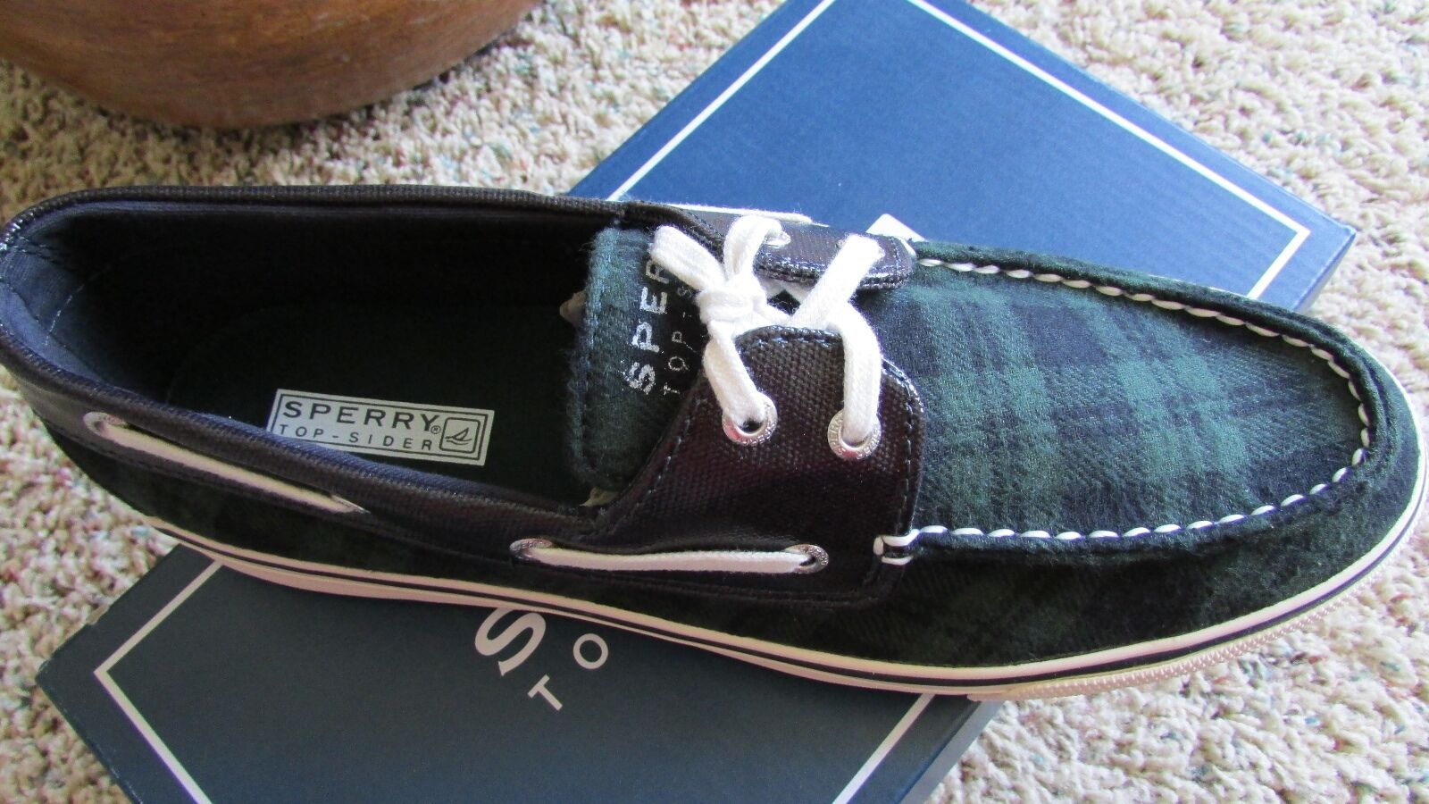 NEW SPERRY TOP-SIDER BISCAYNE NAVY GREEN PLAID BOAT SHOES WOMENS 6