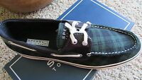 Sperry Top-sider Biscayne Navy/green Plaid Boat Shoes Womens 6