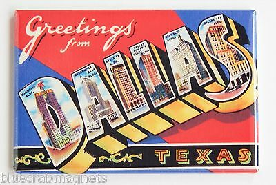 Greetings from Dallas FRIDGE MAGNET (2 x 3 inches) texas travel souvenir