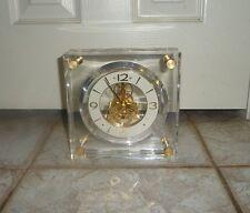 "Seiko Encased Brass Skeleton 7"" Block Lucite Brass Mantel Desk Clock QAW1056"