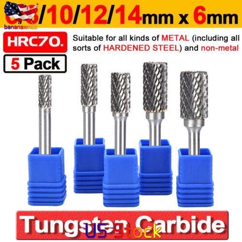5Pcs 1//4/'/' Tungsten Carbide Rotary Point Burr Die Grinder Shank 6 8 10 12 14MM