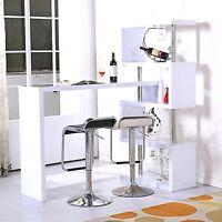 High Gloss Bar Table Wooden Breakfast Furniture Wood Storage Shelf Decor Shelves