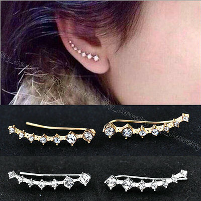 New Women Ladies One Row Rhinestone Crystal Star Ear Clip Piercing Cuff Earrings