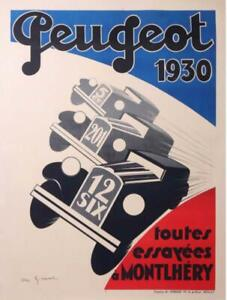 RARE-PEUGEOT-POSTER-1930-BY-A-GIRARD-RACE-COURSE-MONTLHERY